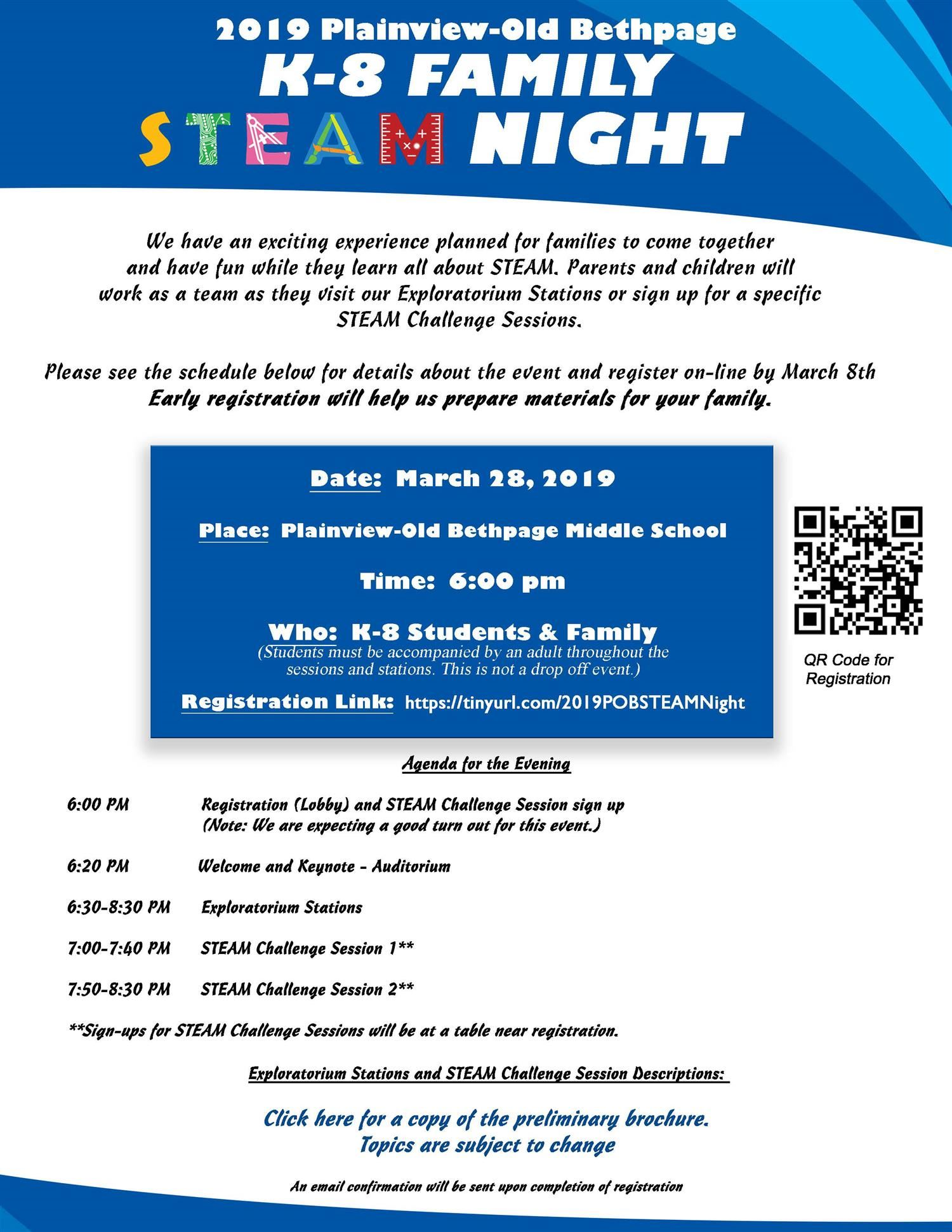 K-8 Family STEAM Night: CLICK HERE to Register!